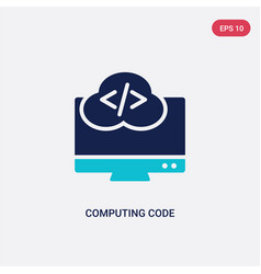 Two color computing code icon from computer vector