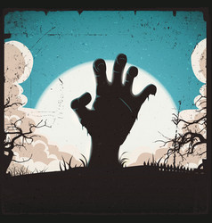 undead zombie hand on halloween background vector image