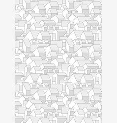 Vertical grey pattern with simple houses gable ro vector