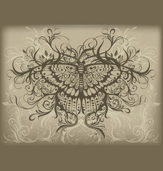 Vintage butterfly tattoo vector