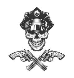 Vintage monochrome skull in police hat vector
