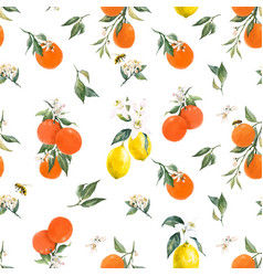 Watercolor citrus pattern vector