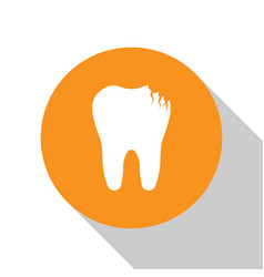 White broken tooth icon isolated on white vector
