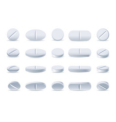 White medicine tablets and pills vector
