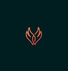 Wings fire logo line fire grill vector