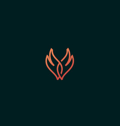 Wings of fire logo line fire grill vector