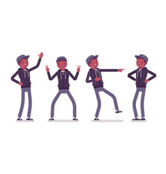 Young black man positive emotions vector