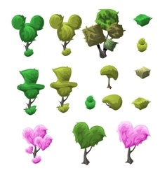 Big topiary tree set of various forms vector image