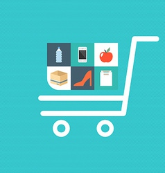 Flat shopping icons vector image