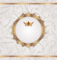 Golden vintage with heraldic crown seamless floral vector image vector image