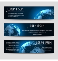 Horizontal banners template with earth sphere vector image vector image