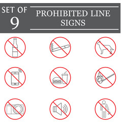prohibited color line icon set red forbidden sign vector image vector image