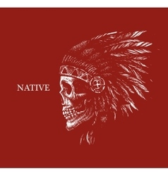 skull indian chief hand drawing style vector image vector image