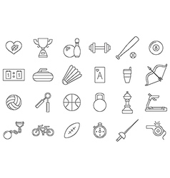 black sports icons set vector image vector image