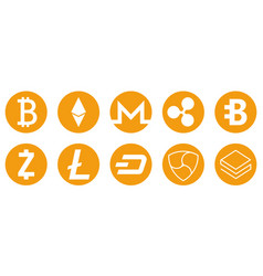 cryptocurrency icons set for internet money vector image vector image