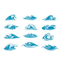 icons of ocen water wave blue splash vector image