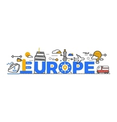 Travel Europe Word Text Creative Design vector image