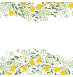 Detailed contour square frame with herbs daisy vector image vector image