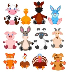 Farm animal cartoon collection vector image vector image