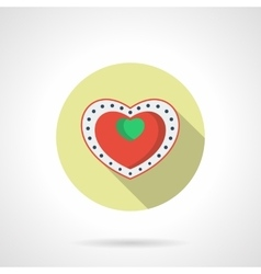 Heart box of chocolates round flat icon vector image vector image