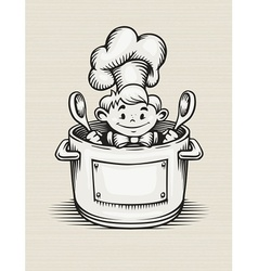 smiling boy cooking in the vector image
