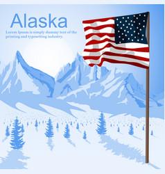 usa american flag stars and stripes in alaska vector image