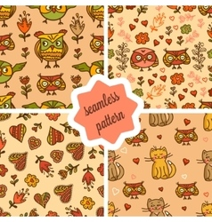 cute valentines seamless patterns vector image vector image