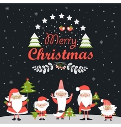 Funny Santa Clauses with Christmas tree vector image