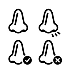 Nose smell black icon set vector image