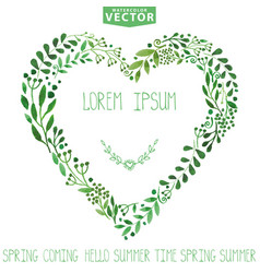 watercolor green branches heart wreathbackgroun vector image