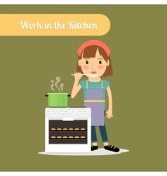 Woman cooking food in the kitchen vector