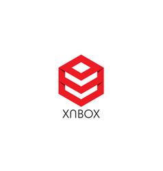 Abstract hexagon polygon box shape logo icon vector