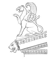 Acroteria temple minerva at aegina vintage vector