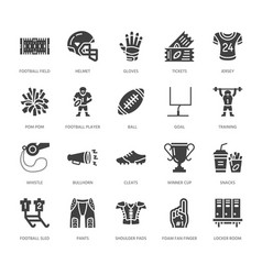American football rugby flat glyph icons vector