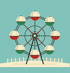 Amusement park ferris wheel flat color icon vector