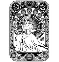 art nouveau frame libra zodiac girl vector image