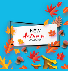 autumn in paper cut style origami leaves vector image