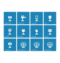 Awards icons on blue background vector image