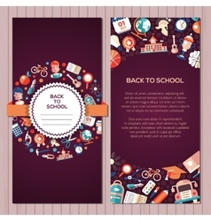 Back to school flat design icons postcard template vector