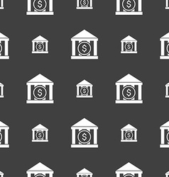 Bank icon sign Seamless pattern on a gray vector