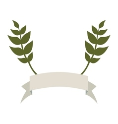 banner emblem with olive branches icon image vector image