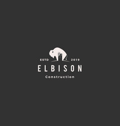 Bison construction building logo hipster retro vector