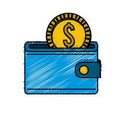 Blue wallet with gold coin inside vector