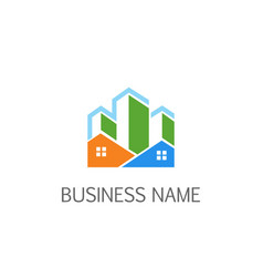 Building house realty company logo vector