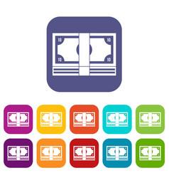 Bundle of money icons set vector