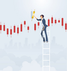 Businesswoman on ladder with candlestick chart vector