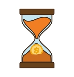 cartoon clock glass sand business clock money vector image