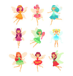 cartoon fairy girls cute fairies dancing in vector image