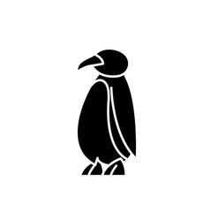 cartoon penguin black icon sign on vector image