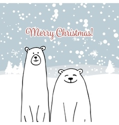 Christmas card with white bears vector image